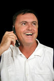 电池笑的人电话 免版税库存图片