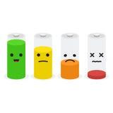 电池象集合 套与微笑的电池充电电平指示器 库存照片