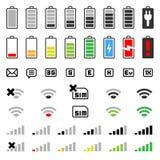 电池连接数图标移动电话集 免版税库存照片