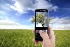 电池采取妇女的移动电话照片 免版税库存图片