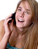 电池青少年女孩的电话 免版税库存照片