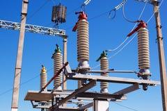 电源变压器分站的电设备 库存图片