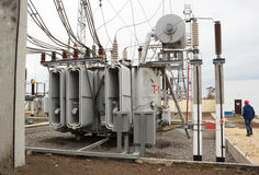 电源变压器kV 110  免版税库存照片
