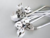 电源插头的许多类型 库存照片