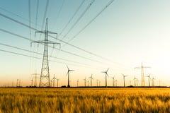 电源杆和风轮机归档了庄稼 免版税库存图片