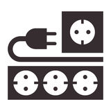 电源输出口、插座和插口标志 免版税库存图片