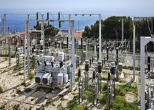 电源配电所在Canton de Beausoleil 法国 库存图片