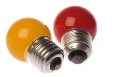 电灯泡上色了查出的光 库存照片