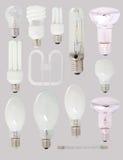 电灯泡不同的类型 免版税库存照片
