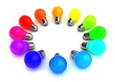 电灯泡五颜六色的光 免版税库存照片