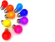 电灯泡五颜六色的光 库存图片