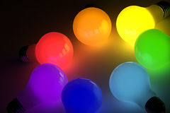 电灯泡五颜六色的光 库存照片