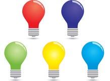 电灯泡五颜六色的集 免版税库存图片