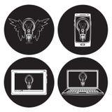 电灯泡传染媒介平的象集合 免版税库存照片