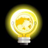 电灯泡光世界黄色 免版税库存照片