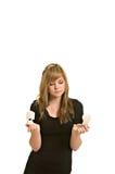 电灯泡光俏丽的妇女年轻人 免版税库存照片