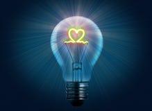 电灯泡光爱 库存图片