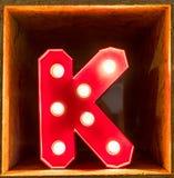 电灯泡发光的信件字母表字符A字体 免版税库存照片