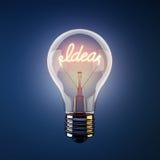 电灯泡发光的想法光字 免版税库存照片