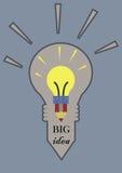 电灯泡和书写大想法概念 库存图片