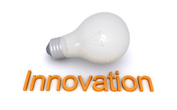 电灯泡和创新词 免版税库存图片