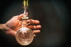 电灯泡和地球 库存照片