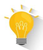 电灯泡和大想法 免版税库存照片