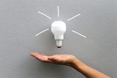 电灯泡和手 免版税库存图片
