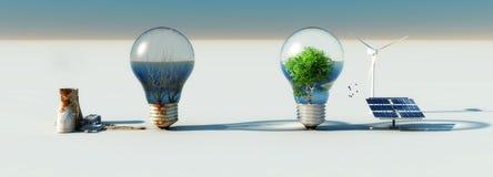 电灯泡和生态系 库存例证