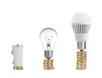 电灯泡和蜡烛 免版税库存照片