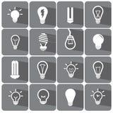 电灯泡和财务象集合例证eps10 免版税库存照片