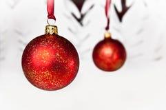 电灯泡圣诞节多雪的结构树 图库摄影