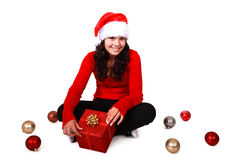 电灯泡圣诞节女孩帽子 免版税库存照片