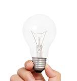 电灯泡在手中 库存照片