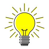 电灯泡在白色背景的象想法 库存例证