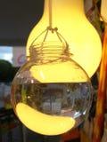 电灯泡塑造了玻璃容器充满水,垂悬在显示的串在都市边路 免版税库存图片