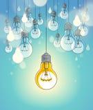 电灯泡导航与唯一一个的例证的想法概念发光,认为不同,创造性,是特别的 库存例证