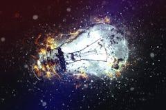 电灯泡展开的光 库存图片