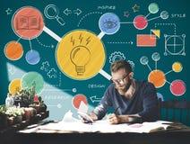 电灯泡想法创造性的图概念 库存例证