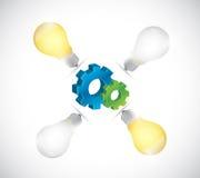 电灯泡想法齿轮例证设计 免版税库存图片