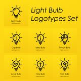 电灯泡标志略写法设置有创造性的想法,星,十字架,拳打,爱心脏,想法,在电灯泡的夹子标志 库存例证