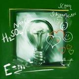 电灯泡概念乱画想法轻美术 免版税库存照片