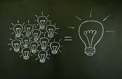 电灯泡概念光配合 库存图片