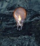 电灯泡火炬火焰 拿着在孔的妇女一个火炬塑造了 免版税库存照片