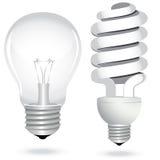 电灯泡电能源闪亮指示光节省额集 免版税库存照片