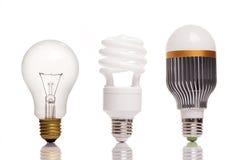 电灯泡的不同的类型 免版税库存图片