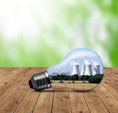 电灯泡的核电站 库存照片