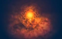 从电灯泡的闪电 库存照片