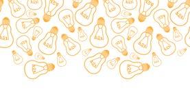 电灯泡线艺术水平的无缝的样式 免版税库存照片
