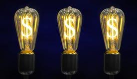 电灯泡美元光符号 库存照片